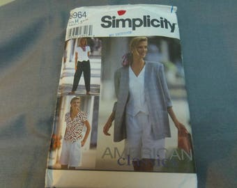 Womens Pants or Shorts, Top and Unlined Jacket, Size 6, 8, 10 Uncut Pattern, Simplicity 8964