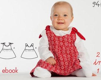 Baby girls set pattern, short baby girl bloomers and pinafore tunic dress, kids set, Ebook pdf download sewing pattern from Pattern4kids