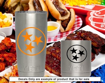 Tennessee State Orange Stars Vinyl Decal Mini-Packs  Yeti Cups Tumblers Coolers Car Truck Laptop Windows