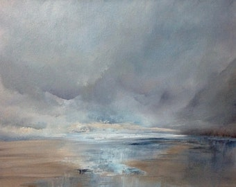 """Seascape Painting 'Just This' by Jo Payne, acrylic on box canvas, 16""""x12"""""""