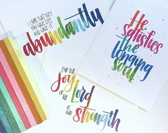 THREE Christian Watercolor Lettering Prints - Hand Lettering Art Print - Watercolor lettering Painting - Bible Lettering -Bible Verse print