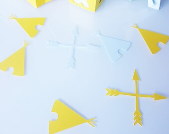 10 confetti - Teepees-arrows-feather paper 210 gr - green and gray - baptism - birthday-wedding table decoration