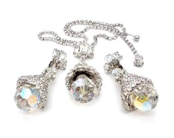 AB Crystal Rhinestone Vintage Necklace Earrings Set Aurora Borealis