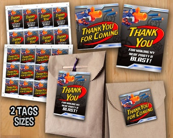 24 Personalised Nerf Gun Birthday Party Bag Thank You Sweet Cone Stickers  Labels