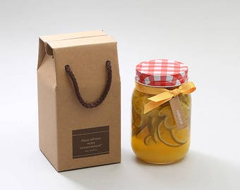 5 Thick Kraft boxes with straps,jar packaging,candle packaging,glass box,candle box,wedding favor box,kraft gable box,gable gift box,gift
