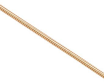 Snake Chain, Gold Finished Brass 2mm jewelry making chain, Finding chain sold Per 5 Ft