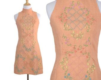 Vintage 60s Orange Creamsicle Embroidered Dress