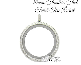 Floating Locket • Stainless Steel • Twist Top • Large 30 mm • Crystals ~ SS100