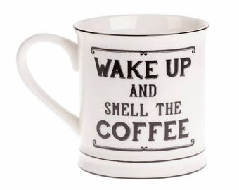 Wake up and smell the coffee mug - great Christmas gift for a coffee lover