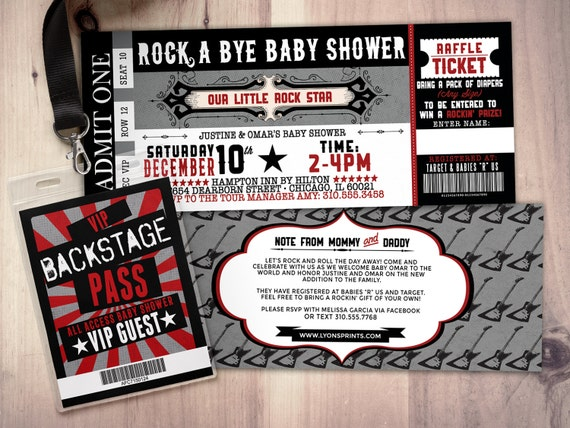ROCK STAR concert ticket baby shower invitation-Coed baby