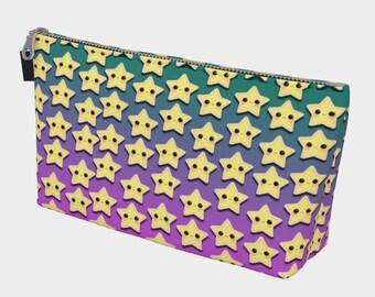 Stars on Purple & Green Makeup Bag