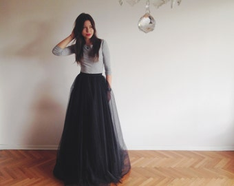 Black tulle maxi skirt