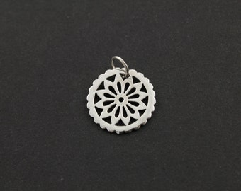 Sterling Silver Carved-Out Flower Charm / Pendant with Jump Ring, Elegant Jewelry Component, (SS/CH4/CR79)