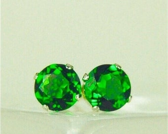 MothersDaySale Chrome Diopside Sterling Silver Stud Earrings 5mm Round 1.10ctw Natural Untreated Emerald Green