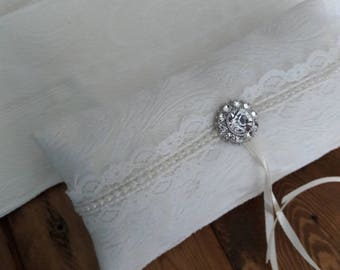 Small ring bearer pillow with  ivory floral fabric