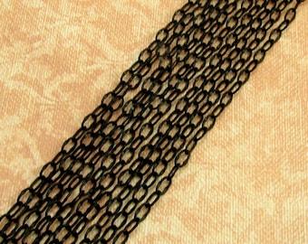 Crimped Ovals Black Chain, Soldered, 4mm, Matte Black 6 Feet, MB7