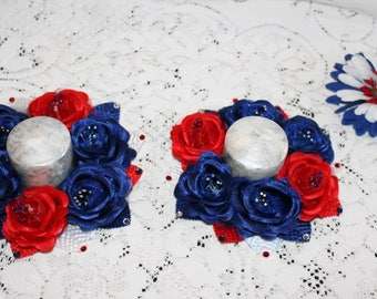 Fourth of July Centerpieces/Independence Day Home Decor/Red White and Blue Table Toppers