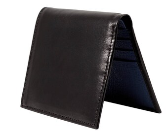 Leather mini wallet in black and blue leather
