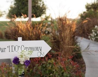 Wedding and Reception arrow signs