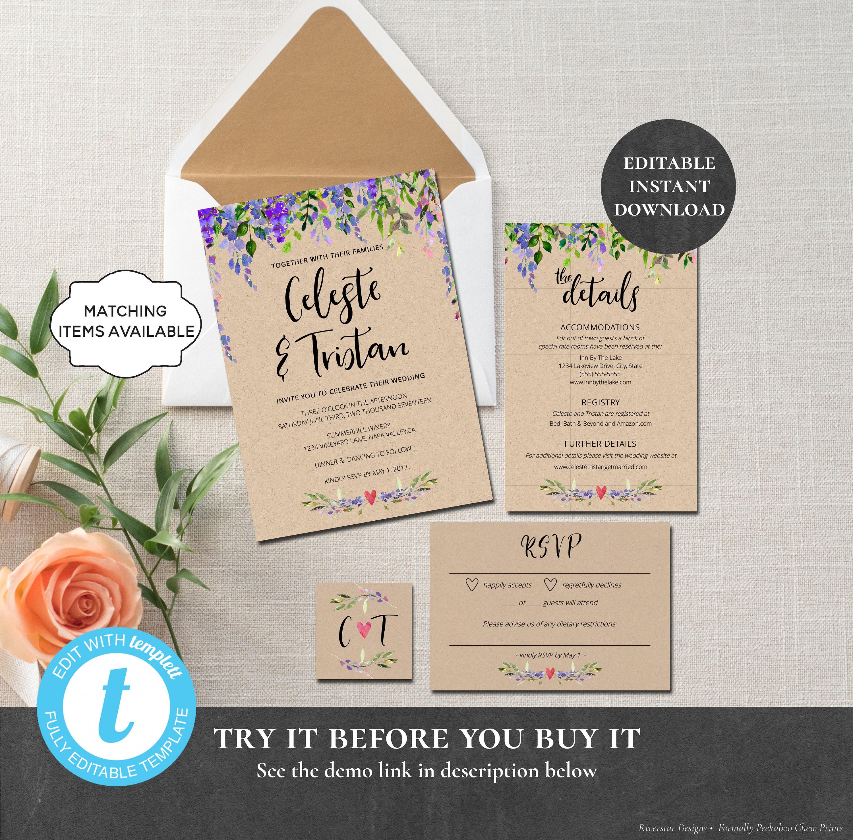 Rustic Garden Wedding Invitation Template EDITABLE PRINTABLE