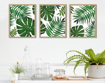 Set of 3 tropical leaf print watercolour home decor cheese plant palm leaf print green nature