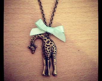 Vintage Giraffe Safari Pendant Necklace Handmade Unique