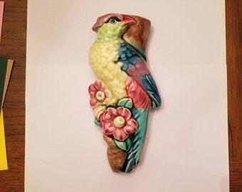 Vintage Parrot Porcelain Wall pocket/Vase