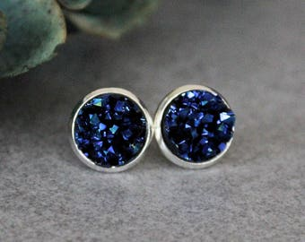 Blue Stud Earrings, Navy Blue Earrings, Dark Blue Earrings, Blue Druzy Earrings, Blue Post Earrings, Dark Blue Stud Earring, Faux Druzy