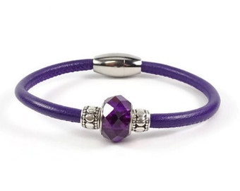 Purple Leather Bracelet, Womens Leather Jewelry, Leather Charm Bracelet, Genuine Leather Bracelet, Stainless Steel Magnetic Clasp