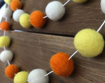 Candy Corn Halloween Felt Ball Garland- Fall- Party, Holiday, Mantle Decor- Pom Pom