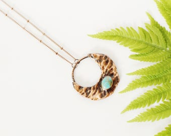 Turquoise Necklace - Electroformed Turquoise Necklace - Crescent Moon Turquoise Necklace