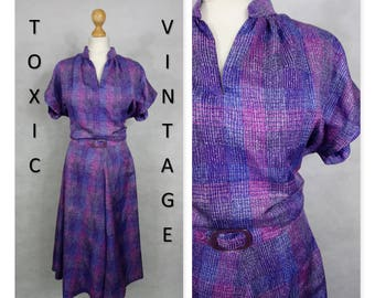 VINTAGE 1970's 1980's Pink Purple TEA DRESS, Uk 14-16, Pretty, Geek, Chic, Retro, Housewife