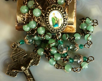 Beautiful Vintaj Brass Wire Wrapped St. Patrick Rosary! Lovely, Durable...