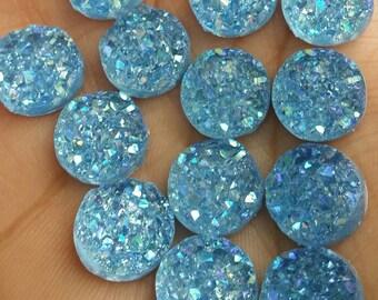 Ab light blue chunky 12mm faux druzy Cabochons 10 pcs - C2:5