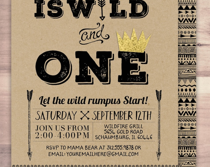 Wild one Birthday Invitation, Wild thing birthday Invite, invitation, arrow, pow wow, BOHO, Tribal, first birthday, 1st birthday, Gold