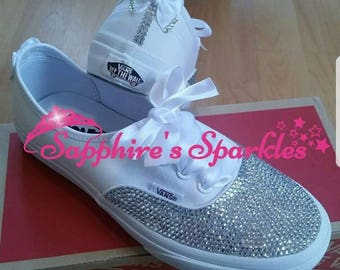 White Vans Customised Vans Bride Vans Bling Vans White Vans Wedding Vans Wedding Shoes Bride Shoes Prom Shoes Prom Vans Wedding Pump