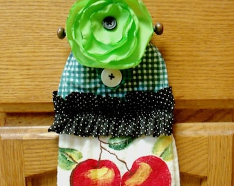 Free Shipping... Ruffly Green Flower and Polka Dot Ruffle on Colorful Dish Towels...Hostess GIft
