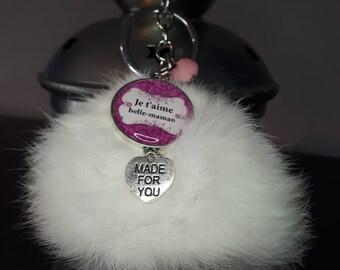 Door keys, snap - I love beautiful maman_ _cabochon resin 25mm tassel