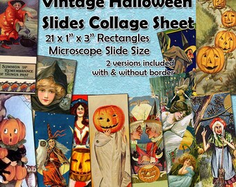 "Vintage Halloween Microscope Slides Digital Collage Sheet  -  1"" x 3"" sized rectangles  x 21 -  Instant Download Mixed Media Images"