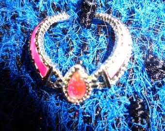Barbie necklace 90 s/ Rigide/ Vintage/ Exclusive / Pink and silver colour