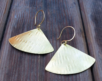 Falling Leaves - Dramatic Brass Earrings - Artisan Tangleweeds Jewelry