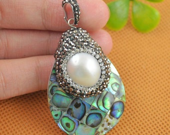 New 2Pcs Natural Abalone Shell & Pearl Pendants With Pave Rhinestone Crystal Pendants Druzy Gemstone Jewelry