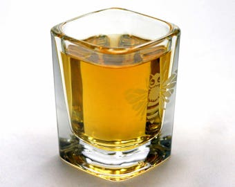 Bee Shot Glass - etched honey bee square shot glass