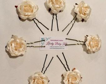 Ivory flower forks, Communion forks for girls, communion accessories, flower hairpins for girls