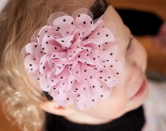 Baby Headband Light Pink Black Polka Dots - Gift or Photo Prop - Newborn Infant Toddler Girl Birthday Party Favor Shower Gift