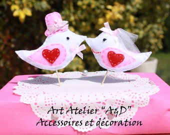 "Idea wedding Figurines decorative ""Mr and Mrs birds"" - decorating the cake or cup cake color blue to order"