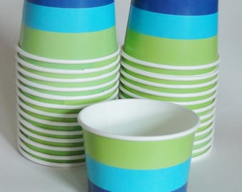 1 Set of BLUE & GREEN STRIPED Party Cups Snack Cups Ice Cream Cups Dessert Bowls - Baby Shower, Kids Birthday, Peter Pan Neverland Party