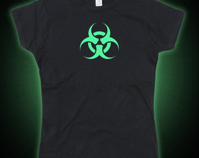 Ladies Biohazard Toxic Waste Glow in the Dark Tshirt