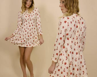 Vintage 1970s, Red & White, Rotary Phone, Novelty Print Mini Dress