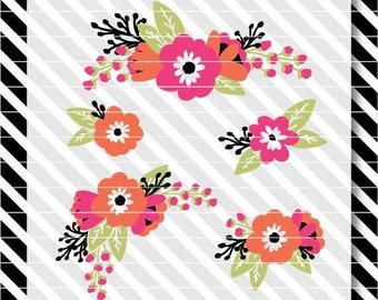 Floral svg clip art - Flowers svg cut file - Floral sprigs for cutting - Mother's Day Flowers - Flower svg - Flower dxf - Floral svg dxf
